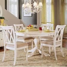 White Dining Room Sets - Round white dining room table set