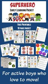 free printable superhero early learning packet for kids who love