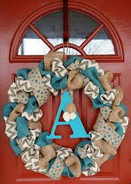 turquoise gray chevron burlap wreath by wreathaddictionbyt