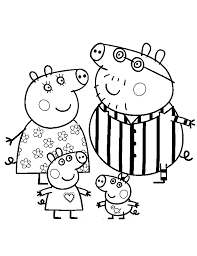 peppa pig family coloring pages coloringstar