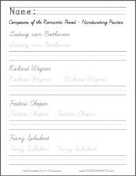 romantic period composers handwriting and spelling worksheet