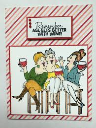 handmade birthday card funny age gets better with wine wine