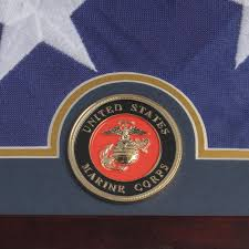 Flag Distributors Us Flag Display Case With Marine Corps Medallion American Flag