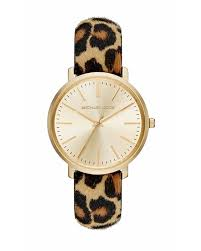 amazon com michael kors jaryn gold dial leopard calf hair women u0027s