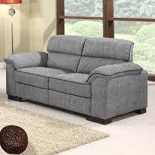 Ealing TwoTone Mid Grey Fabric Sofa Collection With Black Piping - Fabric modern sofa