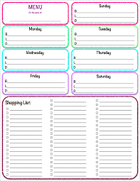 weekly meal menu and grocery list planner template sample vlashed