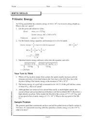 worksheet kinetic and potential energy problems worksheets