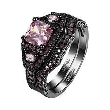 black and pink wedding ring sets black wedding band sets ebay