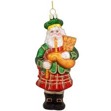 santa with golden bagpipes glass ornament bronner s