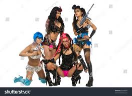 group four women dressed various burlesque stock photo 30396607