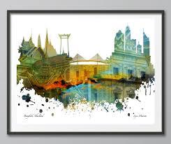 city skyline bangkok skyline skyline print skyline