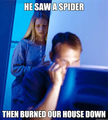 I Saw A Spider Meme - he saw a spider then burned our house down redditors wife