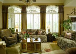 Large Window Curtains by Furniture Arched Window Treatment With Green Curtain Combined