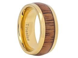 Hawaiian Wedding Rings by Dionte Yellow Gold Inlaid Titanium Wedding Band With Hawaiian Koa