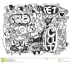 hipster halloween background hipster cat doodles background stock vector image 52275356