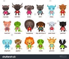 cartoon baby animals racoon buffalo koala stock vector 605493059