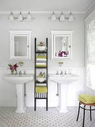 Pedestal Sink Storage by Bathroom Bathroom Dominated With White Color And Two Framed