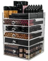amazon com acrylic makeup organizer cube 5 drawers storage box