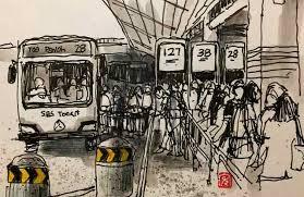 urban sketchers singapore fountain sketching