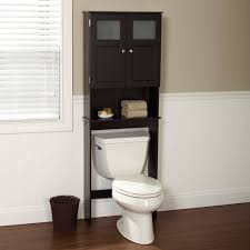 black matte laminated particle wood above the toilet cabinet with