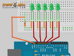 arduino sequencer 5 led chaser robotmill