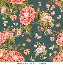 Roses And Butterflies - seamless floral pattern roses butterflies on stock vector