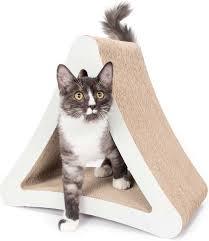 Cat Lounge Scratcher Petfusion 3 Sided Vertical Cat Scratcher Warm Gray Standard
