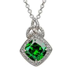 silver emerald necklace images Halo celtic jewelry with gemstones by shanore jpg