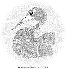 stork fantastic flowers branches leaves anti stock vector