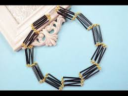 round bead necklace images How to make ladder shaped black glass bead necklace patterns with jpg