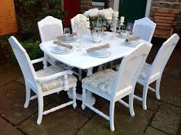 french chic extending dining table u0026 6 bergere chairs shabby