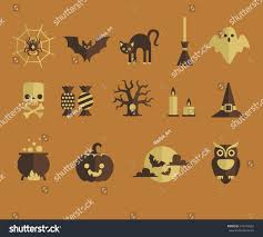 halloween wreath transparent background set vector flat design halloween icons stock vector 342730682