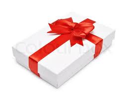 gift box with ribbon white gift box with ribbon white background stock photo