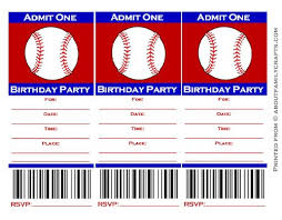 baseball ticket birthday party invitation u2013 about family crafts