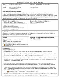 visual arts lesson plan template gifted plans 2nd grade