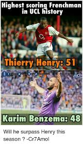 Henry Meme - highest scoring frenchman in ucl history 14 thierry henry 51 amol