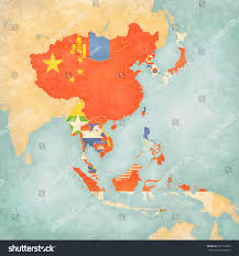 Southeast Asia Political Map by Flags All Countries On Map East Stock Illustration 627215081