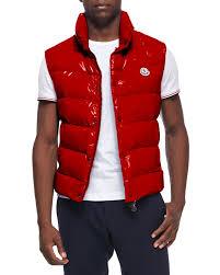 moncler tib puffer vest in red for men lyst