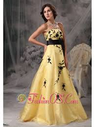 beautiful yellow and black a line prom dress strapless appliques