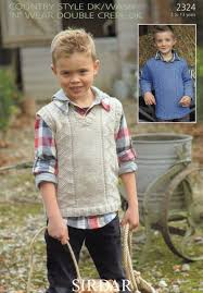2324 sirdar dk boys sweater knitting pattern to fit 2 to 13 years