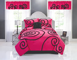 pink u0026 black teen bedding twin comforter set chic ruffles