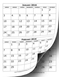printable 2017 calendar two months per page printable 2016 calendar two months per page