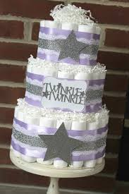 3 tier lavender and silver twinkle twinkle little star diaper