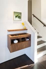 creative idea small brown wood floating shelves with storge near