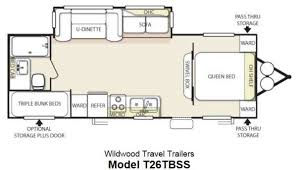 triple bunk travel trailer floor plans used 2013 forest river rv wildwood 26tbss travel trailer at cers