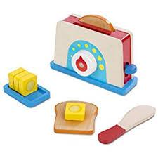 Toaster Boy Amazon Com Melissa U0026 Doug Bread And Butter Toaster Set 9 Pcs