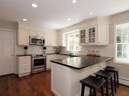 Hardwood Floors With White Cabinets Contemporary Kitchen With Hardwood Floors U0026 Crown Molding In