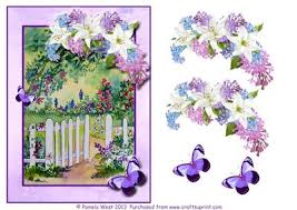 garden gate with flowers and butterflies decoupage cup418103 117