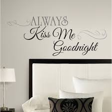 wall decorations for bedrooms roommates rmk2084scs always kiss me goodnight peel and stick wall