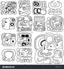 vector image ancient mayan hieroglyphs on stock vector 128182670